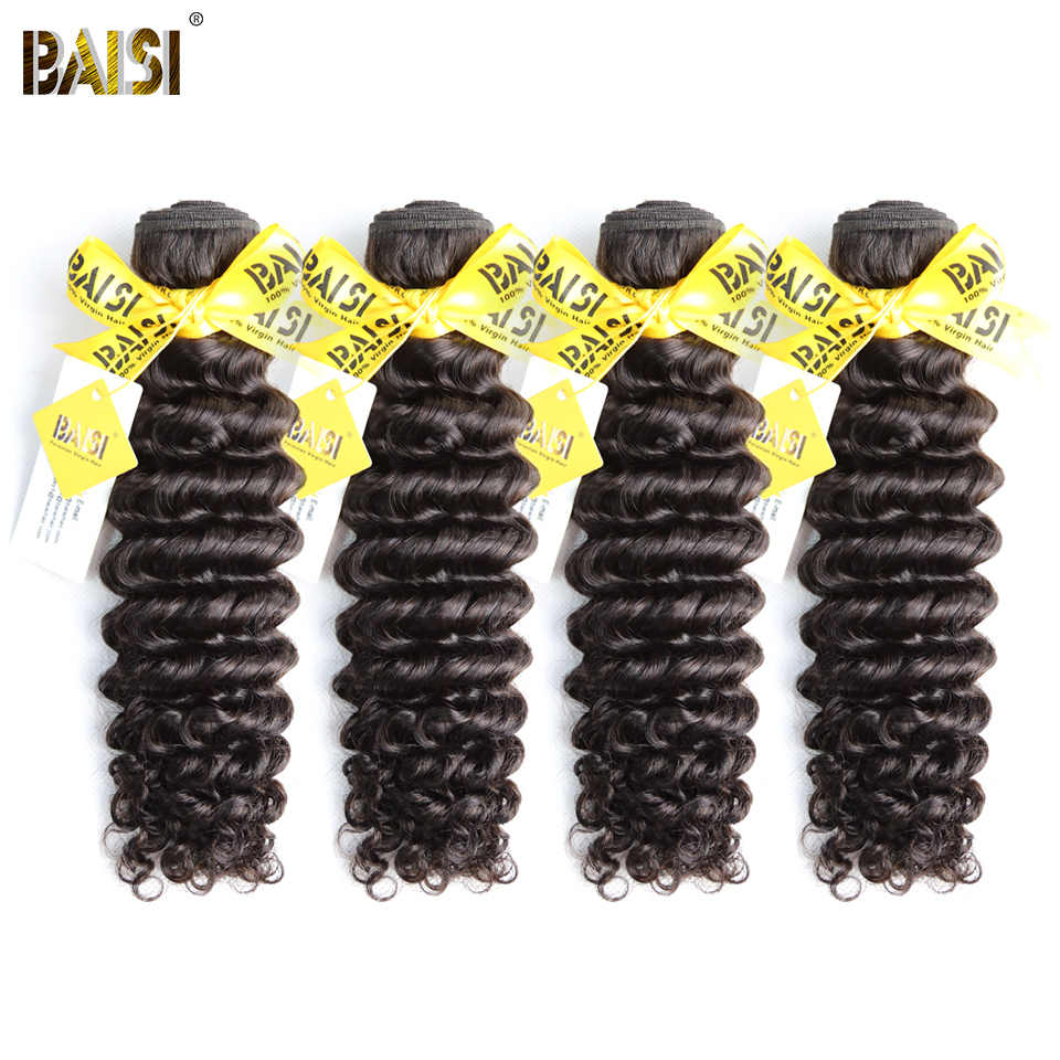 BAISI Hair 100% Unprocessed Human Hair Peruvian Deep Wave Hair 10A Raw Virgin Hair 4 Bundles