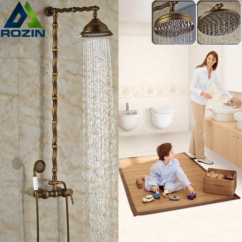Retro style Rainfall Shower Faucet Set Wall Mounted Bathroom Hot and Cold Water Shower Mixer Taps