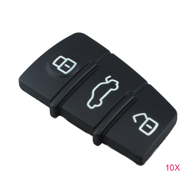 10Pcs/Lot 3 Button Replacement Pad Rubber Remote Key Fob For Audi A3 A4 A5 A6 A8 Q5 Q7 TT S LINE RS
