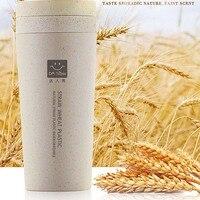 새로운 도착 밀 섬유 더블 레이어 컵 휴대용 손 컵 뚜껑 환경 보호 컵 녹색 커피 마시는 컵