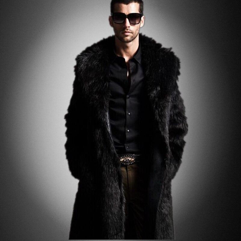 ef5f92ee3613 Men Faux Fur Coat Brand Fashion Slim Fit Turn Down Luxury Long Coat High  Quality Winter Snow Warm Fur OverCoat D1575 EU-in Faux Leather Coats from  Men s ...