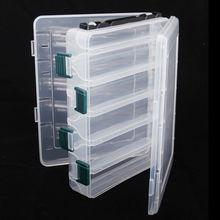 Caja de pesca portátil, 20x17x5cm, doble cara, 10 compartimentos, impermeable, cajas de almacenamiento de pesca, aparejos de pesca de plástico, caja de señuelos