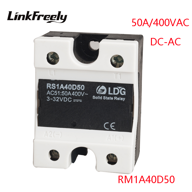 RS1A40D50 50A 220V New Mini Single 1 Phase Solid State Relay 5V 12V 24V Input Output42-440VAC DC To AC SSR Relay Switch Board