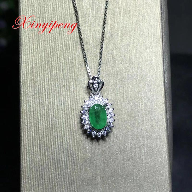 Xin yi peng 925 silver inlaid natural emerald necklace, necklace woman, fashion, holiday anniversary gift