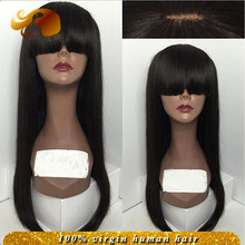ALYSSA Glueless Full Lace Wigs With Bangs Straight Brazilian Virgin Hair Lace Front Human Hair Wigs For Black Women Natural Look