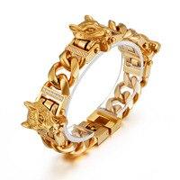 Hip Hop Biker Cool 3 Wolf Heads Set Cuban Miami Link Chain Bangles Bracelets for Men Rock Jewelry Gold Silver Black