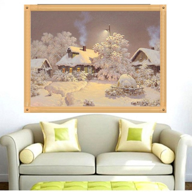 Snowy DIY Rhinestone Diamond Embroidery Craft Painting Cross Stitch Room Decor
