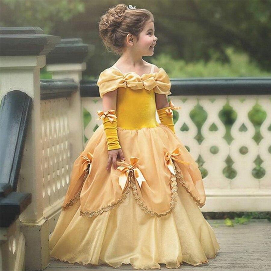2018 New Belle Princess Dress Flower Girl Kids Performance Dress Belle Costume Children Halloween Party Ball Gown Tutu Dresses