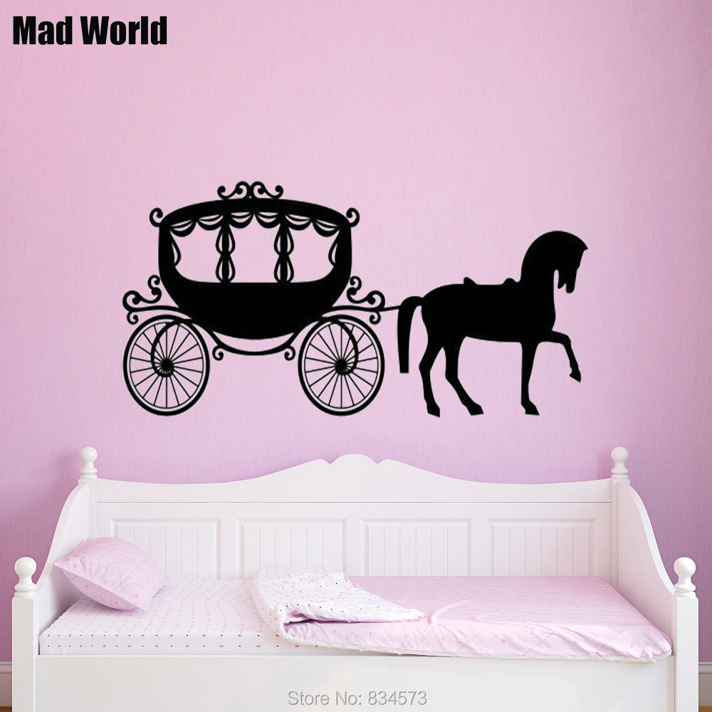 Horse And Carriage Design Childrens Kids Bedroom Wall Art Decal Vinyl Sticker