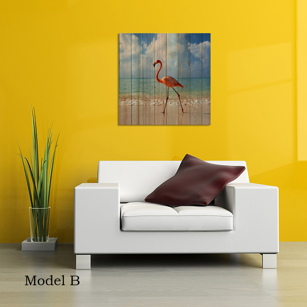 Visual Art Decor Pink Flamingo Creative Wood Board Background Canvas ...