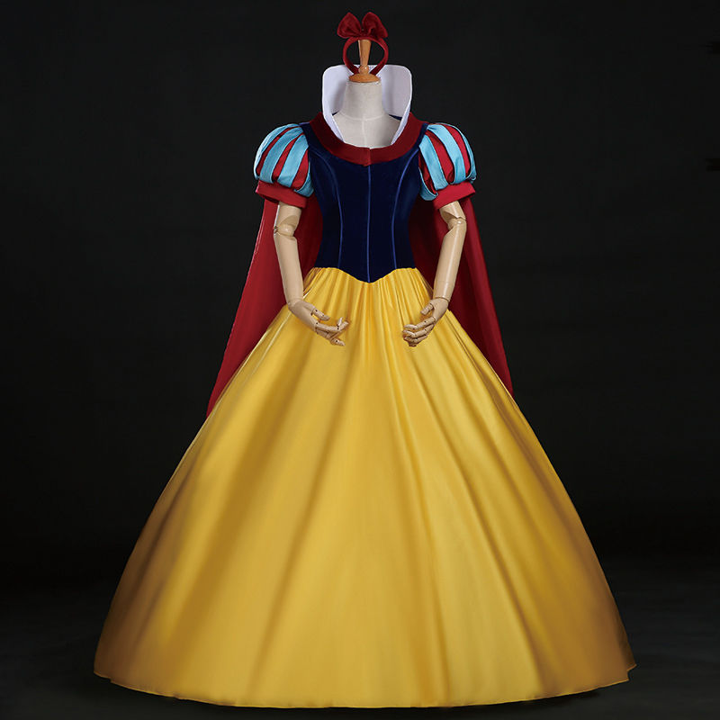 Snow White Costume Custom Made Adult Halloween Costumes Princess Snow White Cosplay Costume Headband Cloak Snow White Dress