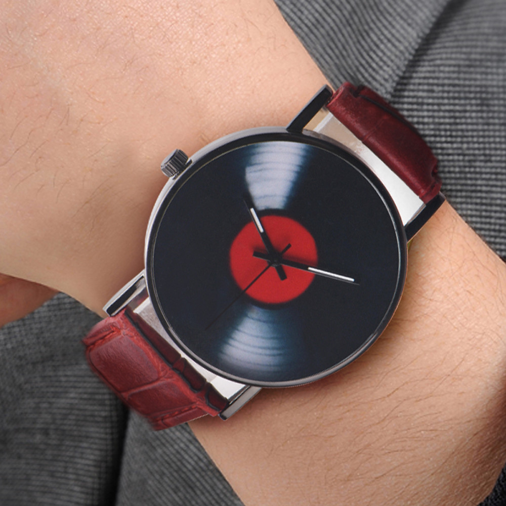 2019 Fashion Men's Belt Watch Simple Vinyl Record Stamp Scale Alloy Dial Sport Quartz Watch Gift Montre Homme Digital @9
