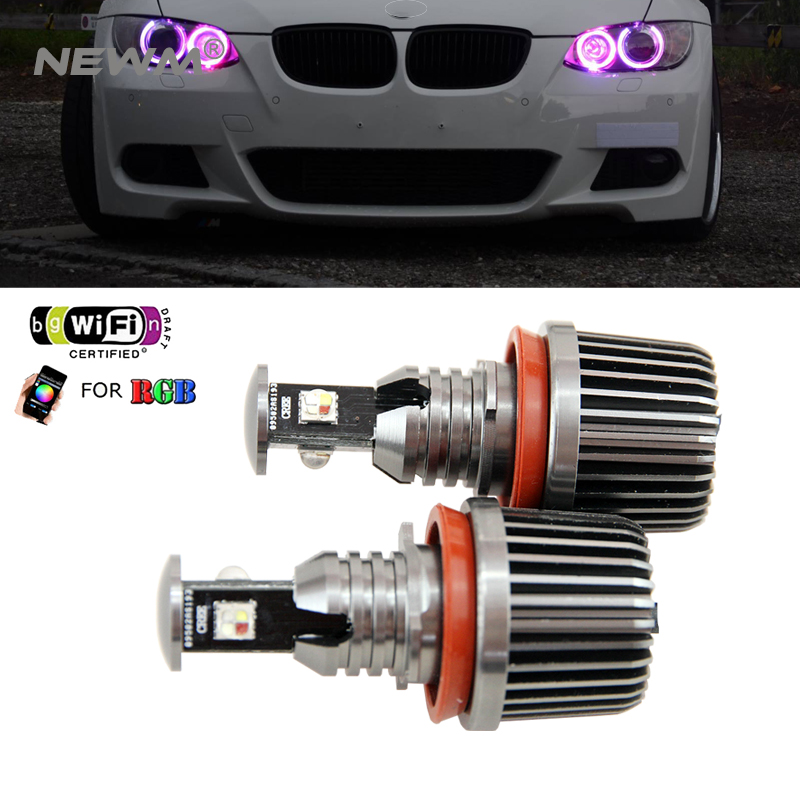 2018 New Upgrade wifi RGB E92 H8 LED angel eyes led marker lights canbus for BMW X5 E70 X6 E71 E90 E91 E92 M3 E89 E82 E87 2x 10w led marker angel eyes wifi control rgb color change led marker light for 2005 2008 bmw e90 e91 pre facelift models