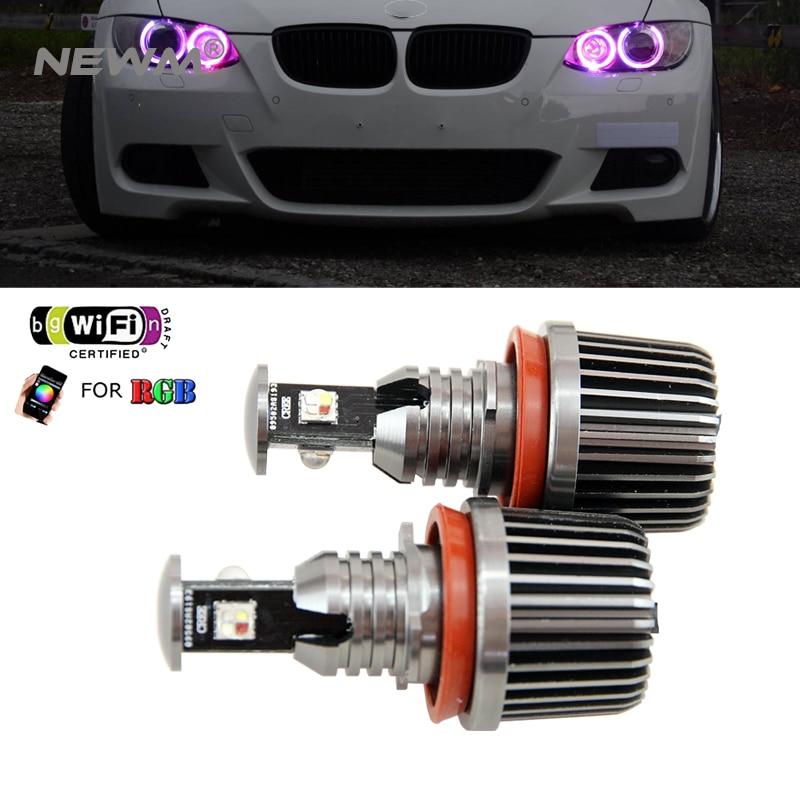 2018 Nouvelle Mise À Niveau wifi RVB E92 H8 LED ange yeux indicateur LED lumières canbus pour BMW X5 E70 X6 E71 E90 E91 E92 M3 E89 E82 E87