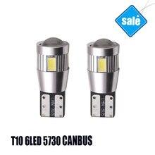 Пар Продажа T10 6smd canbus Авто Габаритные фары Внешнее освещение LED автомобили лампы 6000 К DC 12 В светодиодные лампы