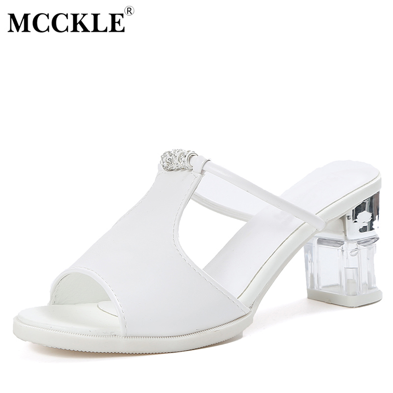 MCCKLE 2017 New Fashion Women Shoes Woman Slippers Chunky Heels Black Platform Peep Toe Ladies Casual Comfortable Hot Sale mcckle 2017 fashion woman shoes flat women platform round toe lace up ladies office black casual comfortable spring