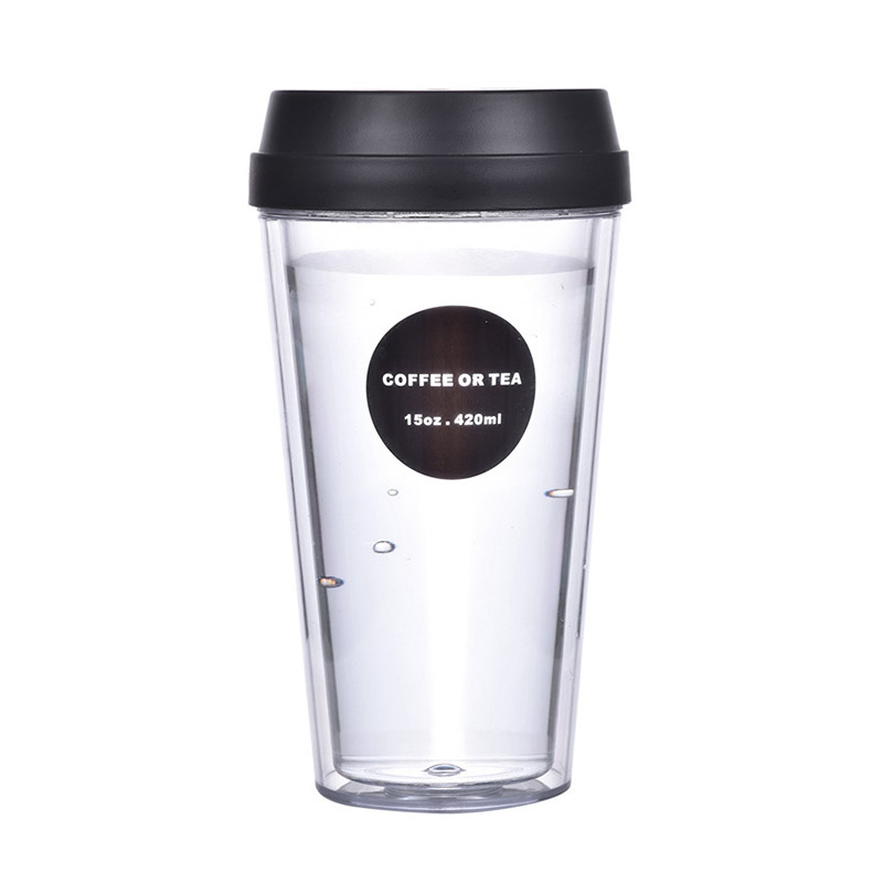 Fashionable Clear Body Double Layer Plastic Wate Bottle Portable CoffeeCup Enjoy your Drink Time 420ml SH80-82