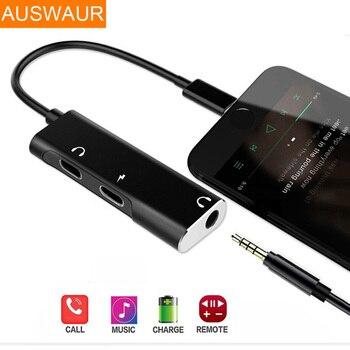 222efa02df3 2 in1 adaptador de otg para iPhone lightning 3,5mm divisor Aux Auriculares  auriculares para iPhone 8 7 Jack de auriculares con soporte de anillo de  dedo