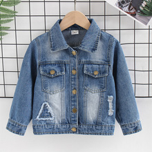DIIMUU 1pc Kids Fashion Boys Girls Denim Coats Casual Jackets Toddler Baby Clothing Solid Holed Outerwear Washed Coat 2-8 Years