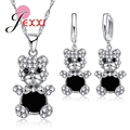 Jemmin Fashion Birthday Jewelry Set Bear 925 Sterling Silver Rhinestone Crystal Pendant Necklace Earrings Jewelry Sets For Women