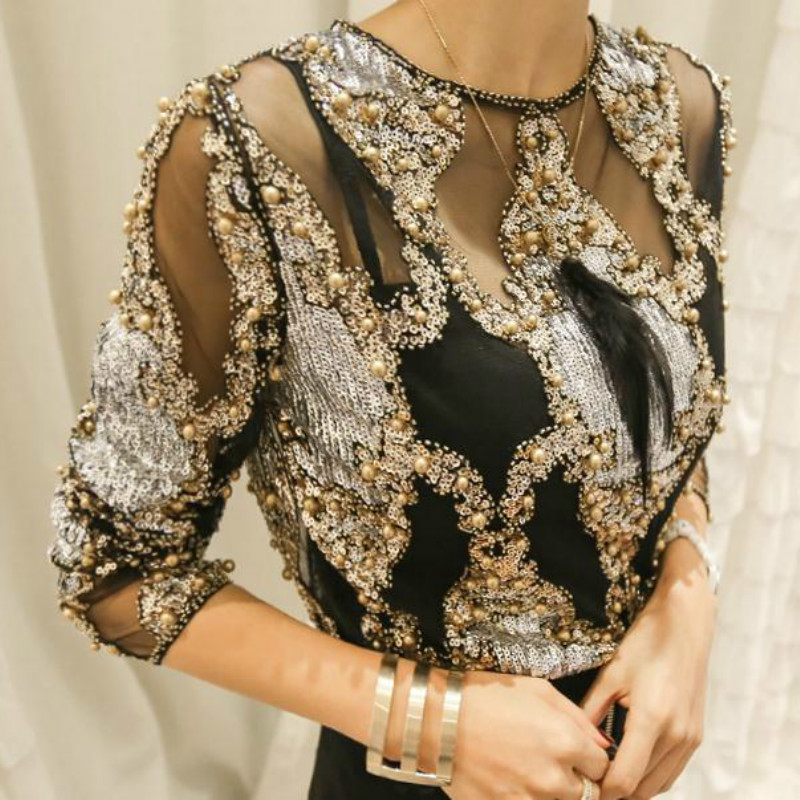 Luxury Women Crystal Sequins Embroidery Blouse Lace Geometric Heavy Beads Shirts Sexy Blusas Camisa Clubs Hollow Tops 2019