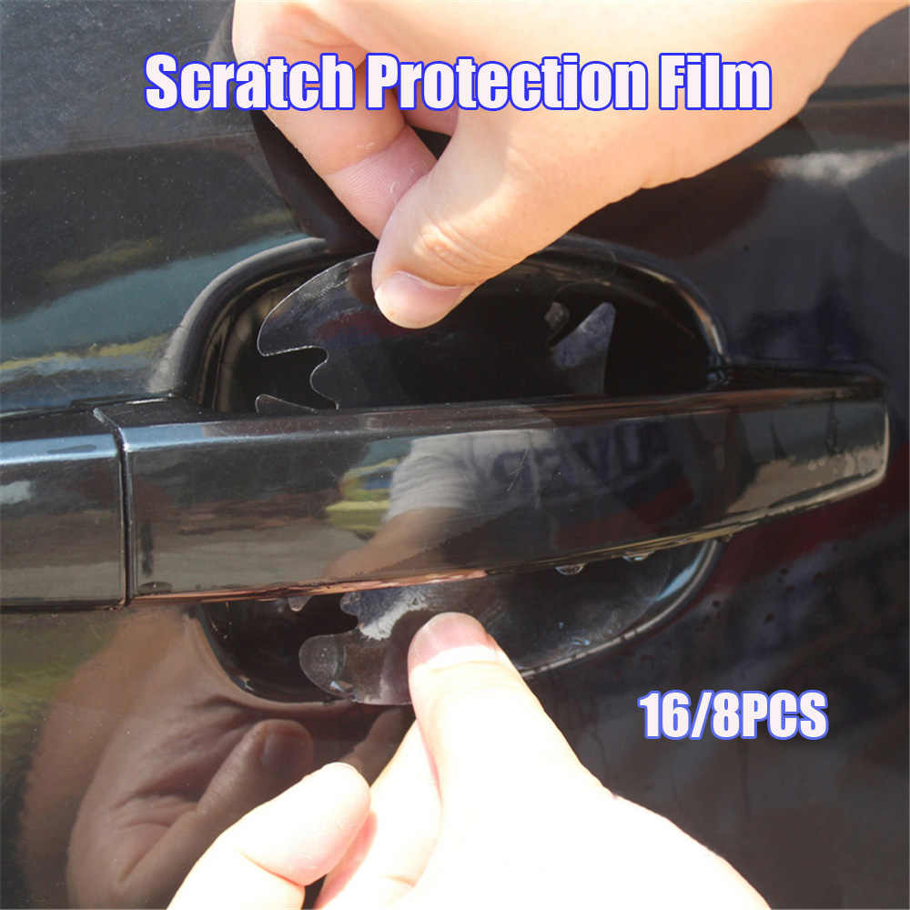 16/8pcs Universal Invisible Transparent Car Door Handle Scratches Protective Protector Films Handle Protection Sticker