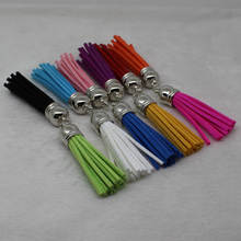58mm Borla camurça cor da mistura para chaveiro encantos jóias pulseiras de telefone móvel, 10 unids borlas de couro acessórios de do-it-yourself