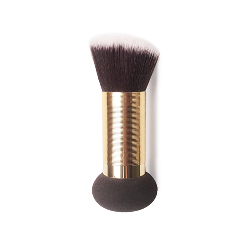 High Class T Series Gold Brushed Metal Short Handle Double Ended Angled Loose Compact Powder Foundation Brush Sponge Puff спонж isadora compact foundation sponge refill 1 шт