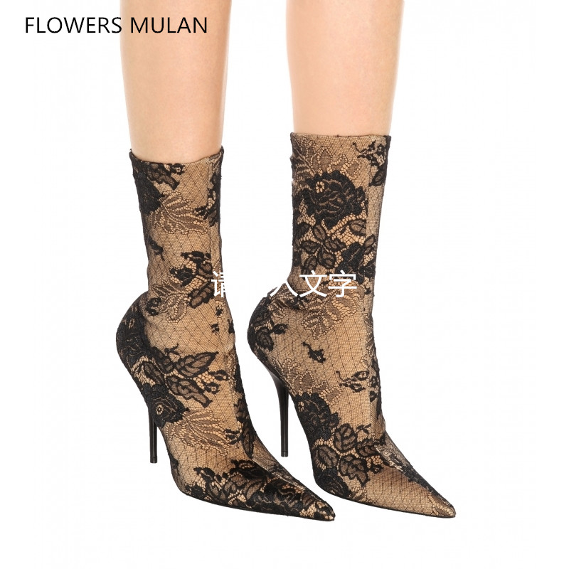 2018 New Design Fashion Boots Women Super Pointed Toe Strech Sock Embroidery Flower High Thin Heels Shoes Elegant Footwear
