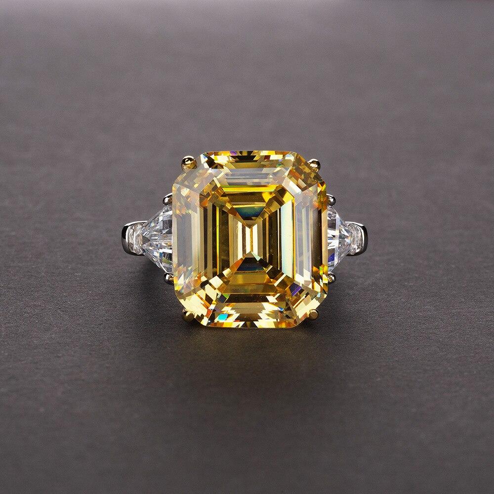 Bague de mariage en argent sterling 925 avec gros zircon cubique carré jaune pour femmes