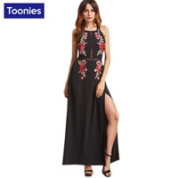 Summer Female Sexy Chiffon Beach Party Dresses Women Black Sexy Backless Dress Rose Embroidered Bandage Maxi