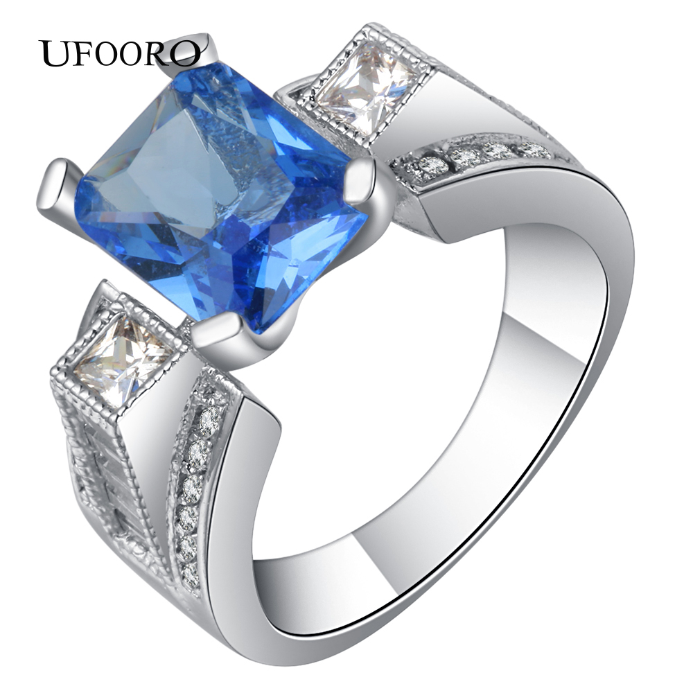 UFOORO Blue CZ Silver Color Weeding rings Romantic Fashion accessories Bohemia Naturl Crystal for Valentines Day ...
