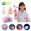 34 PCS Plastic Nurse Doctor Toys Pretend Play Medical Tool Box Kit Physician Cosplay Set for Children Kids Baby with Light Sound