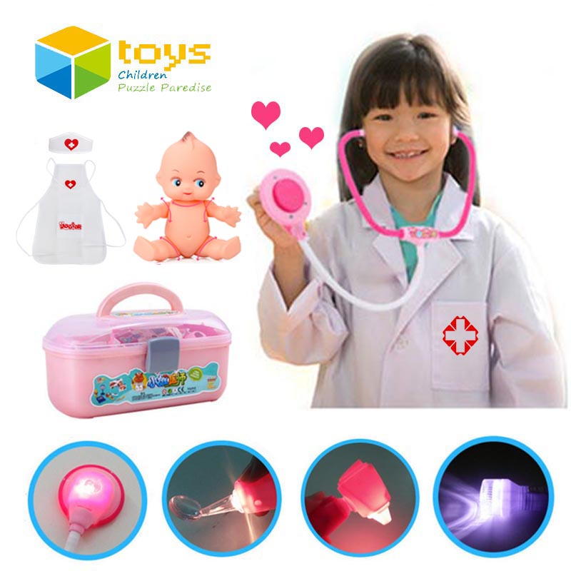 34 PCS Plastic Nurse Doctor Toys Pretend Play Medical Tool Box Kit Physician Cosplay Set for Children Kids Baby with Light Sound image
