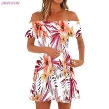 367de050e7 2019 Sexy sukienka S-XL kobiet hawajski sukienki Off The Shoulder kwiatowy  z krótkim rękawem