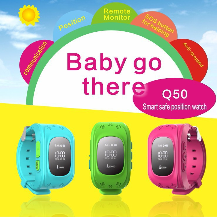 <font><b>GPS</b></font> <font><b>Tracker</b></font> Watch For Kids SOS Emergency Anti Lost Bracelet Wristband Q50 Wearable Devices OLED scree for Smart Phone App