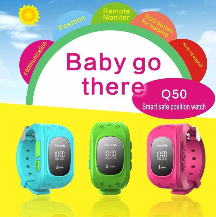 Prix pour GPS Tracker Montre Pour Enfants SOS D'urgence Anti Perdu Bracelet Bracelet Q50 Dispositifs Portables OLED éboulis pour Smart Phone App