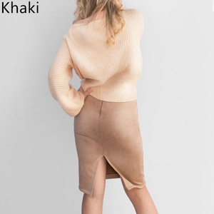 Image 5 - Multi colors 2019 Women Skirt Winter Solid Suede Work Wear Package Hip Pencil Midi Skirt Autumn Winter Bodycon Femininas SP012
