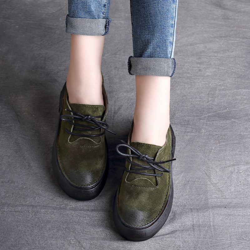 Designer Women Flats Amry Green Genuine Leather Lace Up Grey Flats Fashion Handmade Casual Leather Shoes Soft Bottom Comfortable 2017 new women shoes genuine leather casual shoes flats breathable lace up soft fashion brand shoes comfortable round toe white