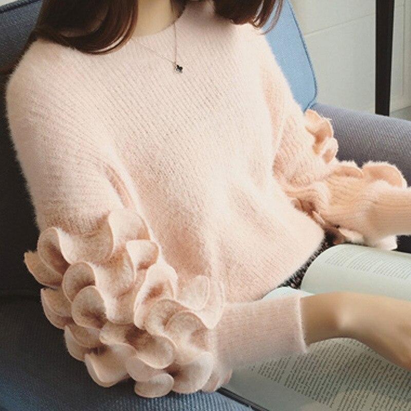 Pull Belle Version 0020 À Burst rouge Style Mode Chandail Longues rose Frais La Est blanc Court Laine Gris De Doux Manches Fleur 2018 E0TwvU0xqA