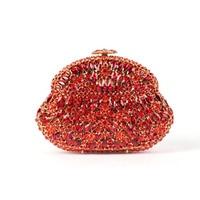 Trendy Handtassen Groothandel Rode en Gouden Clutch Bag met Ketting Vrouwen Wedding Clutch Purse voor Etentje Crystal Avondtassen