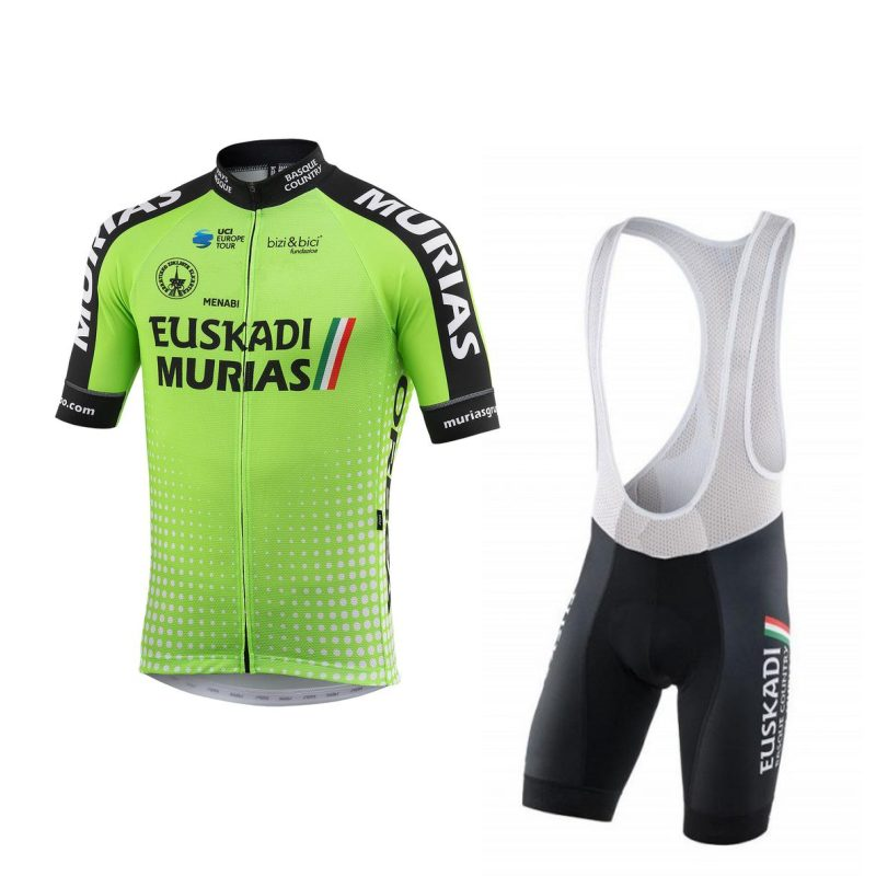 цена 2018 pro team green euskadi murias cycling jersey kits mens summer bike cloth MTB Ropa Ciclismo Bicycle maillot gel pad онлайн в 2017 году
