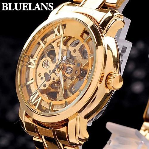 2015 Fashion Mens Mechanical Watches Retro Roman Numerals Hollow Skeleton Golden Tone Wristwatch relogio masculino 6TBX