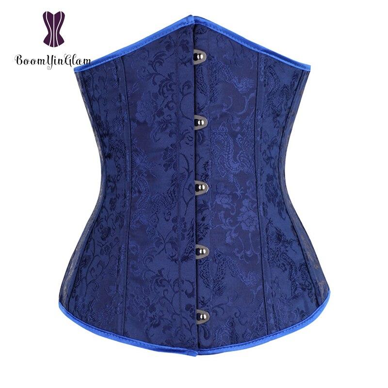 01463da4ac3 Free shipping fashion jacquard dark blue underbust corset slimming waist  brocade corsets top size s-