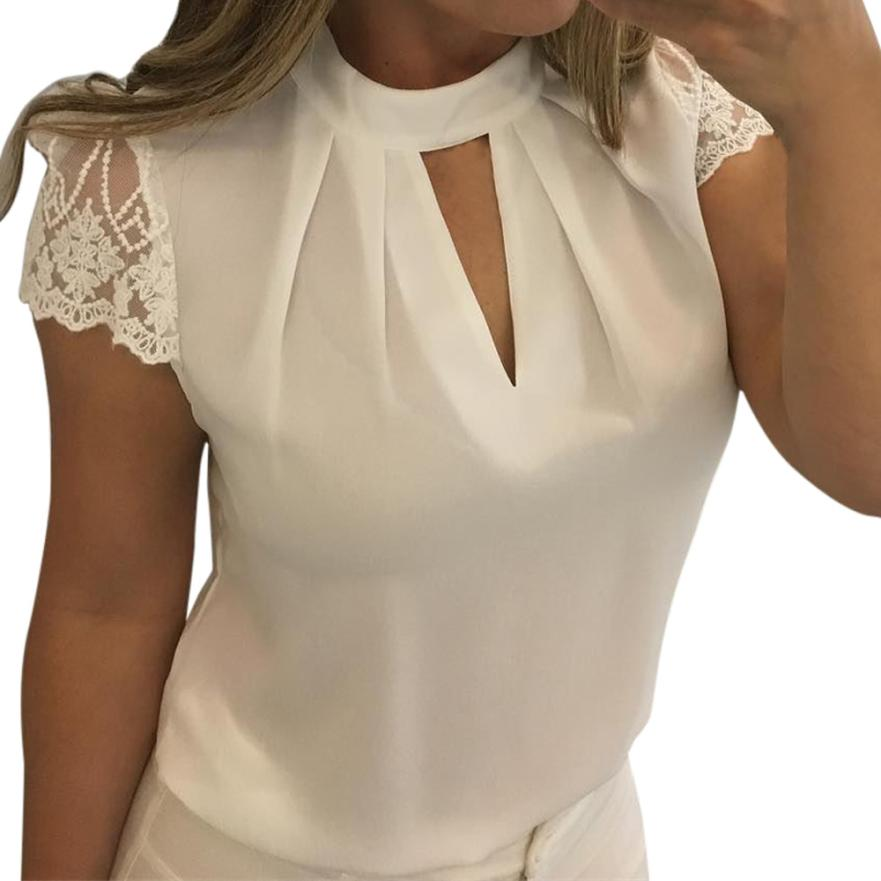 Fashion short Sleeve Womens White Lace Blouse 2018 Summer