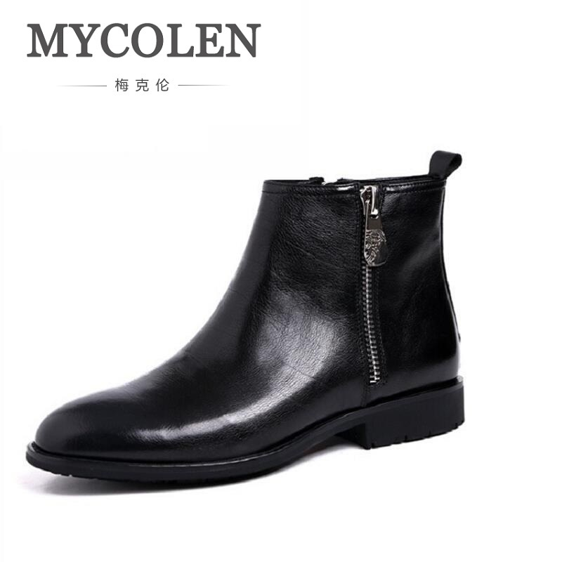 MYCOLEN Brand Quality Cowhide Leather Winter Shoes Men Casual Handmade Round Toe Zipper Motorcycle Boots Comfortable Men Boots