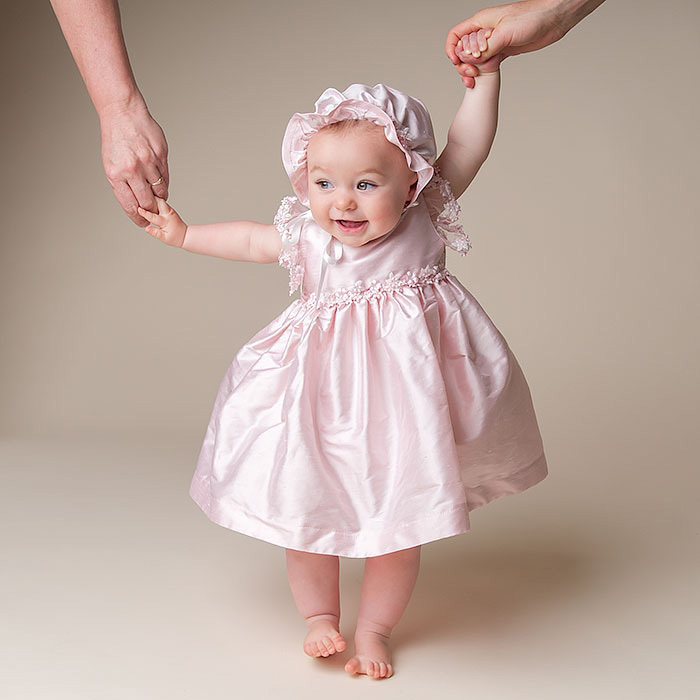Simple Baptism Baby Pink Cloths Dress Ankle Length Satin Lace Infant Girls A-line Christening Gowns 0-24 Month with Bonnet  2017