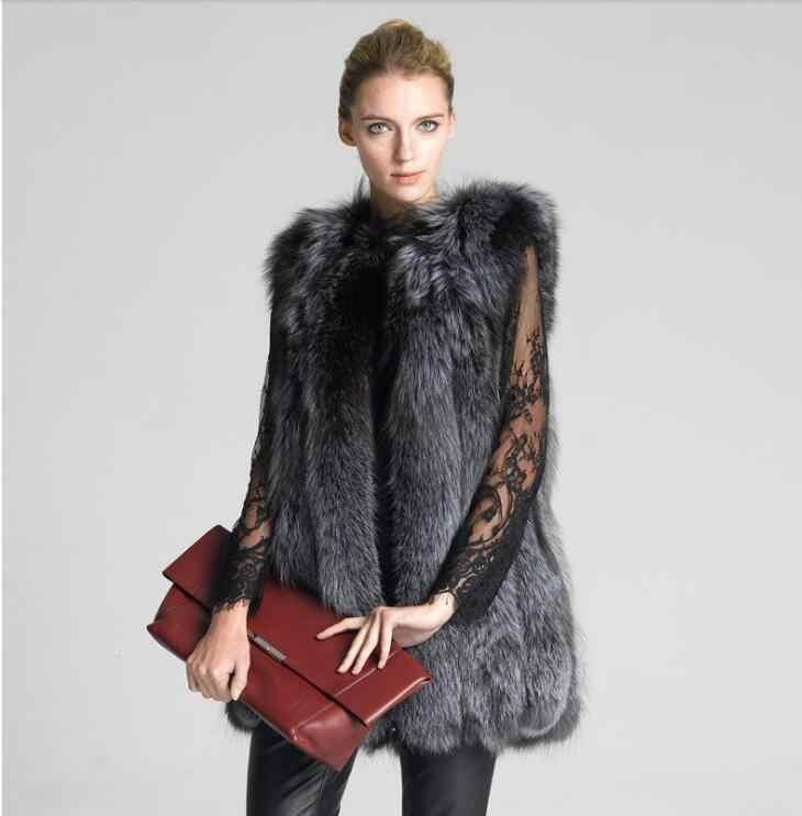 Panas Wanita Rompi Berkerudung Topi Bulu Fashion Mewah Tebal Hangat Rompi Imitasi Fox Rambut Jaket Mantel Warna Solid bulu Rompi Jaket Wanita