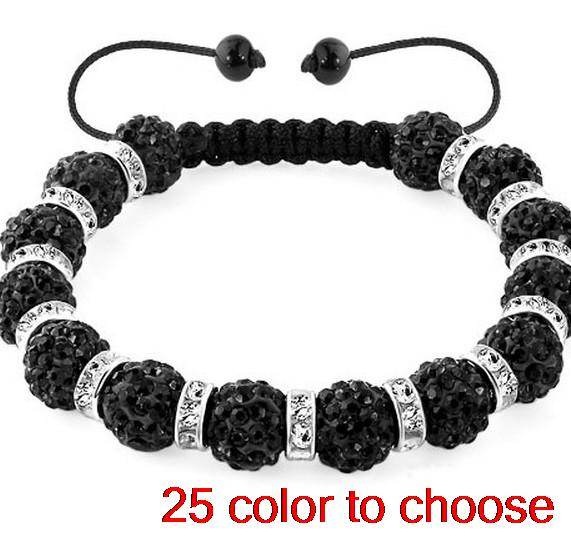 10mm wholesale hot multicolor mixed stone disco ball new Beads Crystal crystal Bracelets black spacer rhinestone lot
