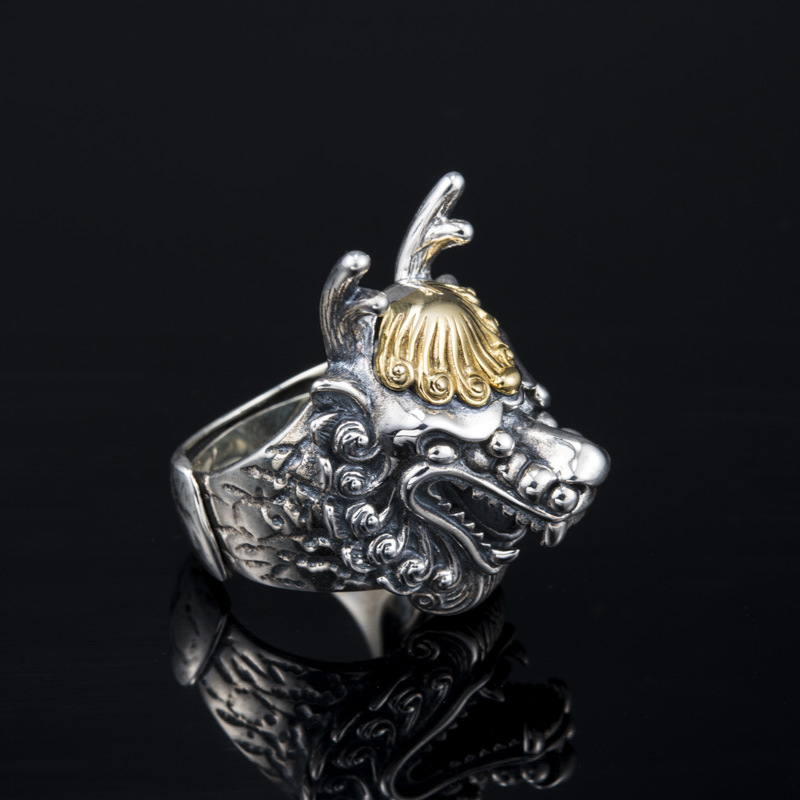 Cock ring new retro Thai silver jewelry domineering personality zodiac wholesale 925 silver ring
